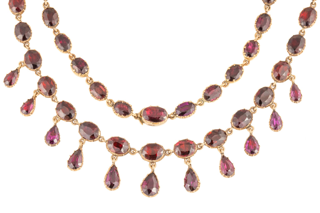 Georgian Gold Garnet Riviere Necklace (51.70ct), 17""