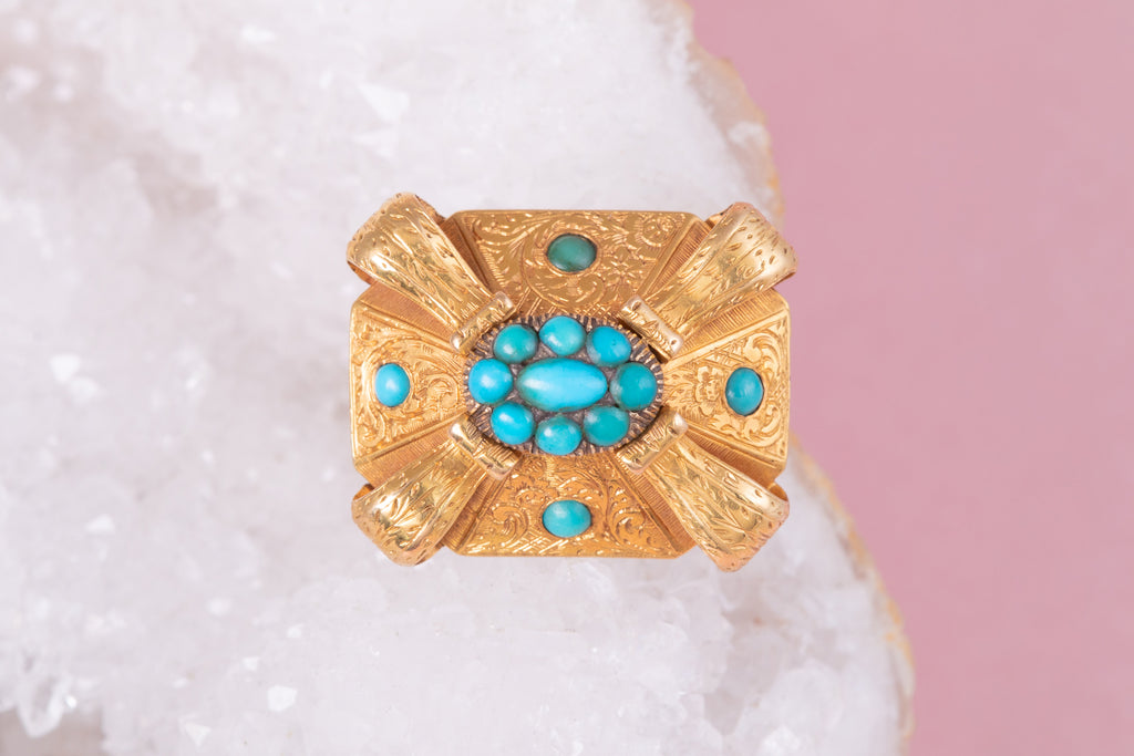 Antique 18ct Gold Etruscan Revival Turquoise Brooch