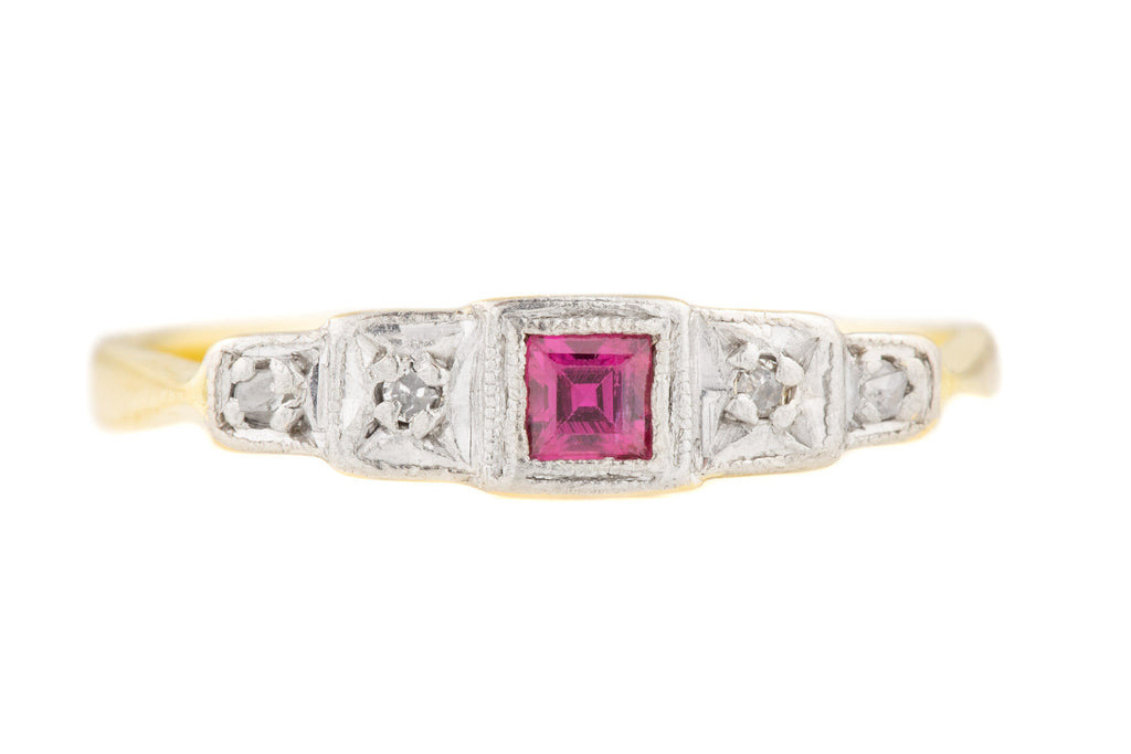 Art Deco 18ct Gold Ruby Diamond Platinum Ring