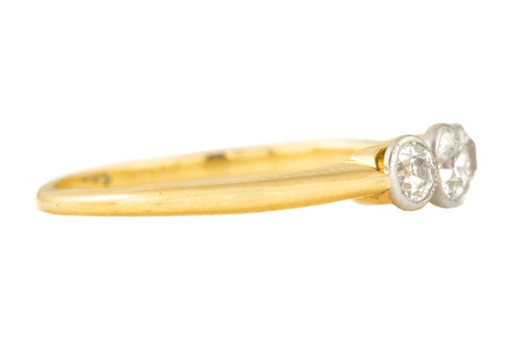Art Deco 18ct Gold Old European Cut Diamond Trilogy Ring, (0.29ct)