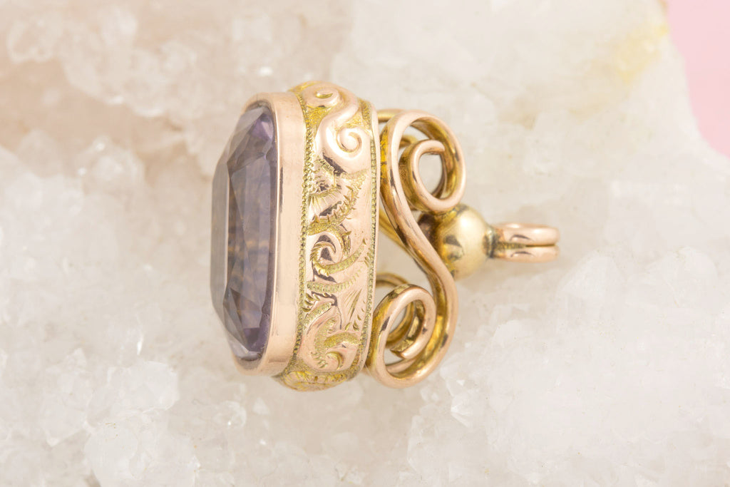Antique Gold Amethyst Fob Pendant (7.60ct)