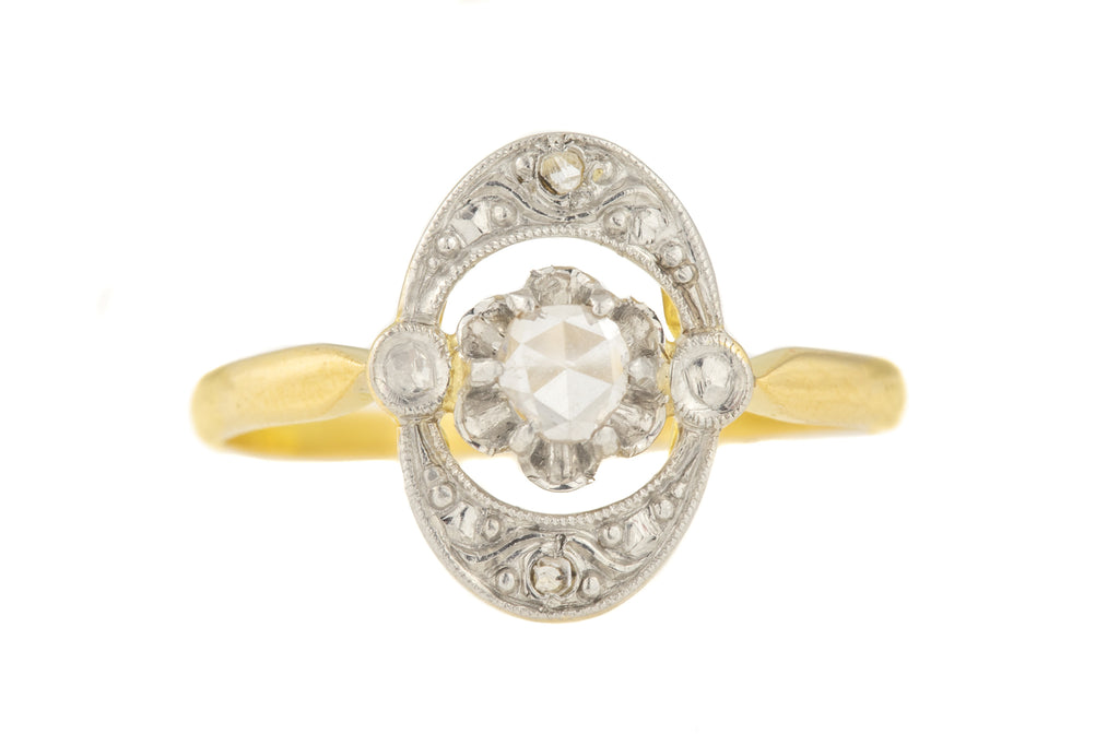 French Art Deco Rose Cut Diamond Engagement Ring