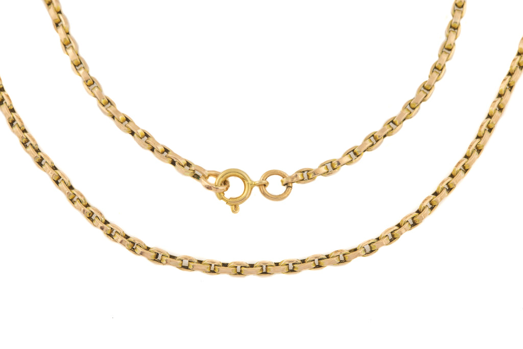 Victorian Slim Rectangular Link Gold Chain, 18""