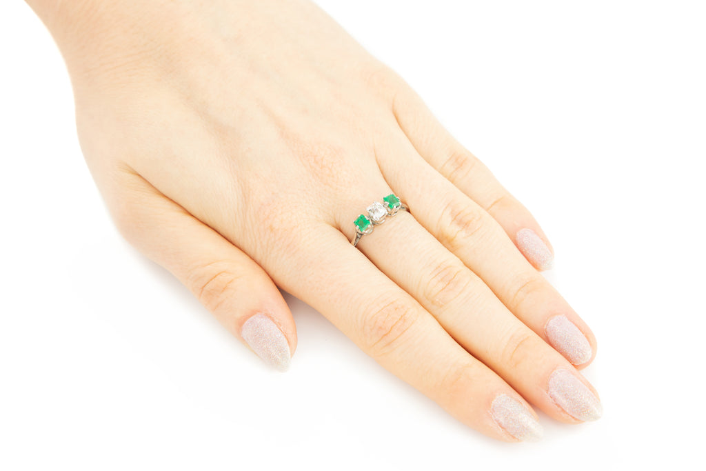 Art Deco Emerald Diamond Platinum Trilogy Ring (0.55ct)