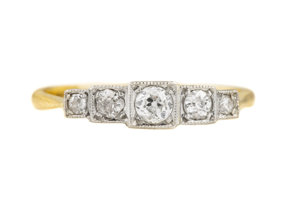 Art Deco 18ct Gold Platinum Diamond Five Stone Ring, (0.32ct)