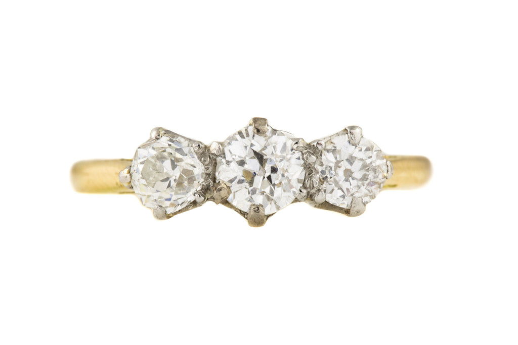Art Deco 18ct Gold Diamond Trilogy Ring, (0.78ct)