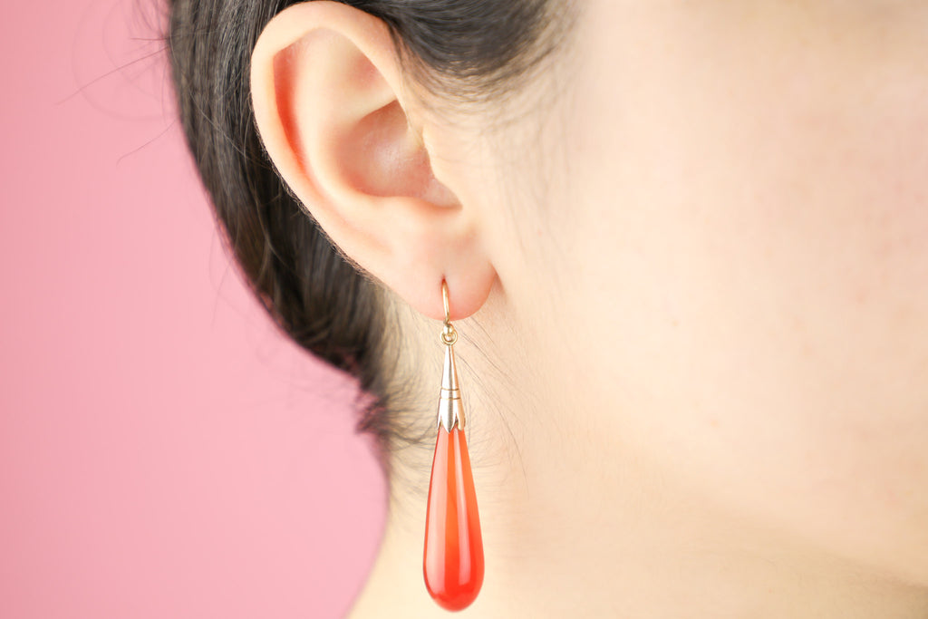 Antique Gold Carnelian Drop Earrings
