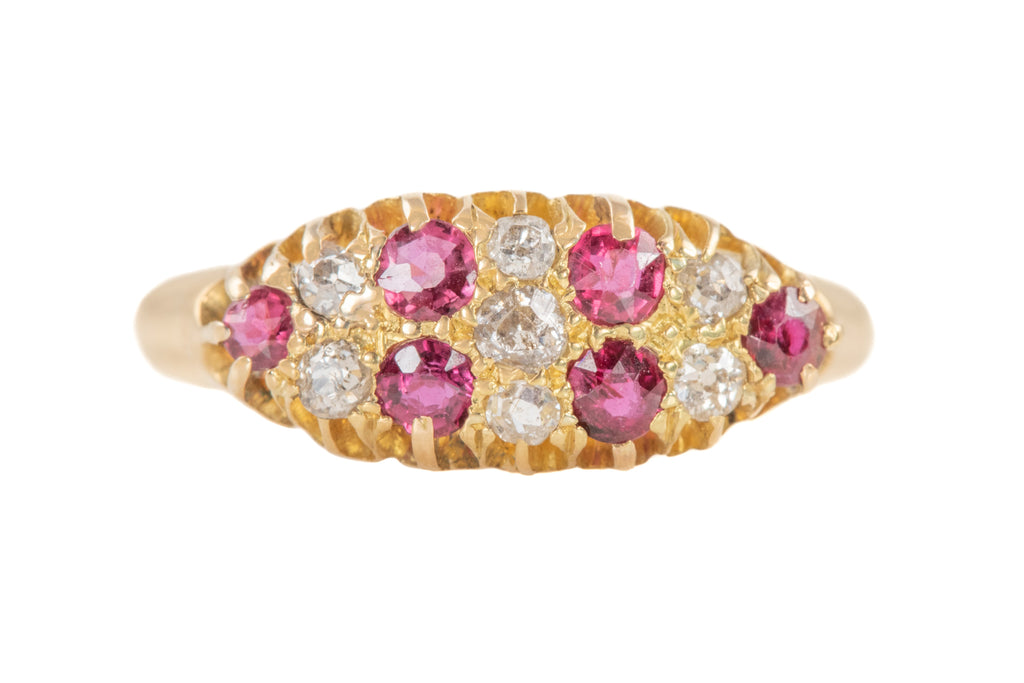 Edwardian 18ct Gold Ruby Diamond Ring, c.1904