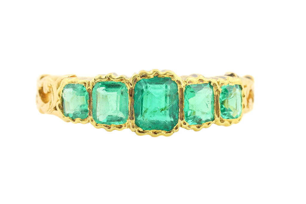 Georgian 18ct Gold Five Stone Emerald Ring (0.50ct)