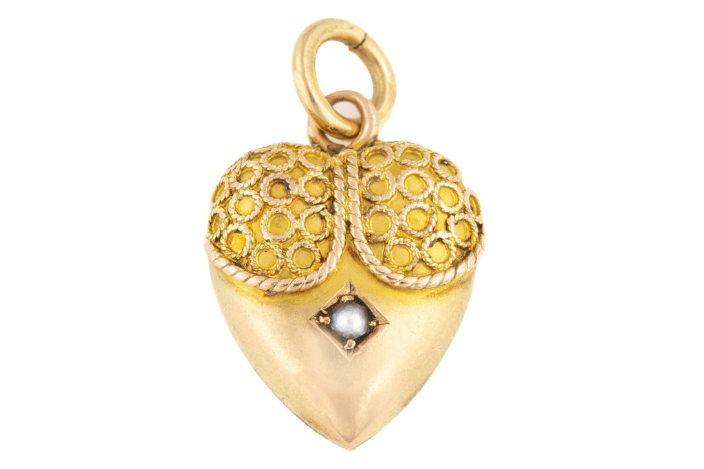 Victorian Gold Cannetille Pearl Heart Pendant