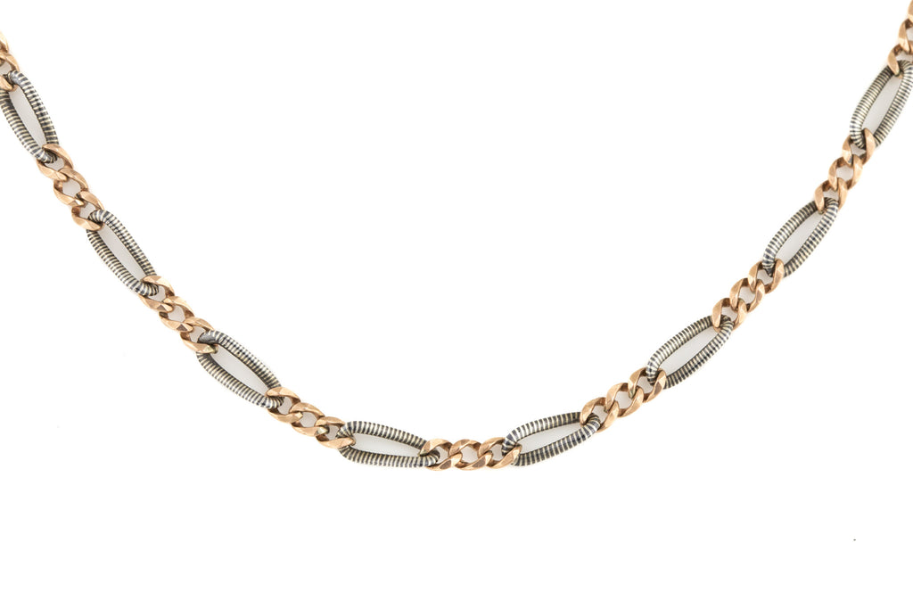Victorian Niello Rose Gold Silver Chain with Large Bolt Ring, 27""