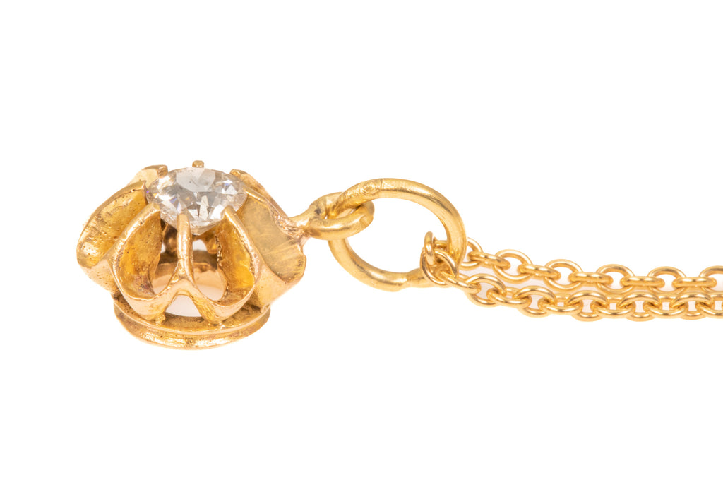 "Antique 15ct Gold Buttercup Diamond Pendant with 18ct Gold Chain, 17"" (0.15ct)"