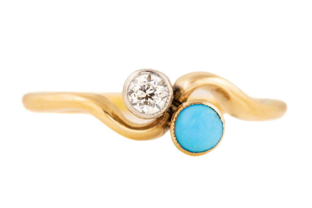 Antique 18ct Gold Diamond Turquoise Toi et Moi Ring (0.15ct)