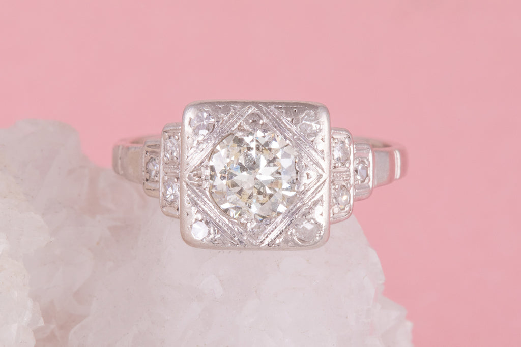 Art Deco Platinum Diamond Engagement Ring (0.60ct)