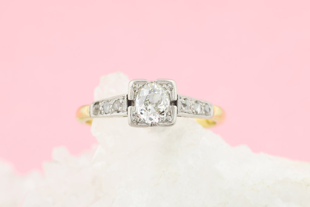 Art Deco 18ct Gold Diamond Engagement Ring (0.45ct)