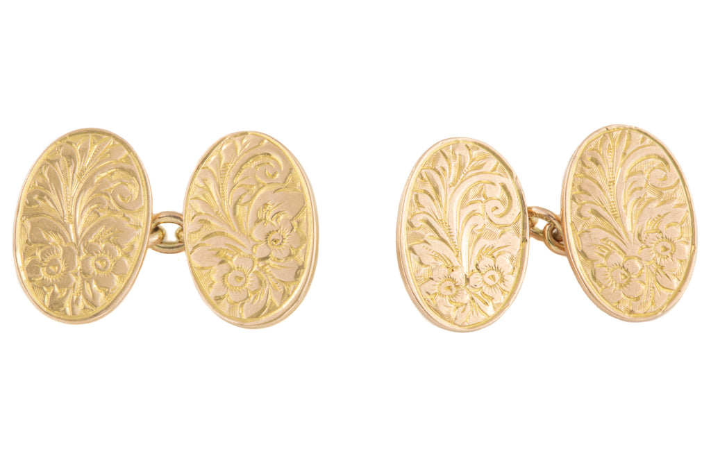 Art Deco Gold Forget Me Not Engraved Cufflinks, c.1921