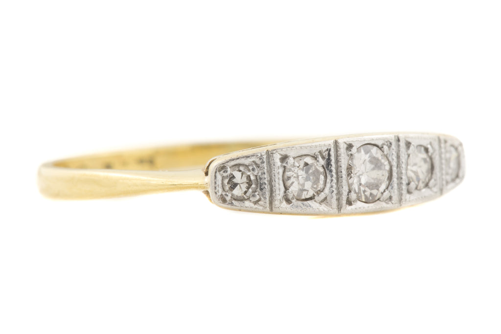 18ct Gold Art Deco Diamond Wedding Ring (0.19ct)