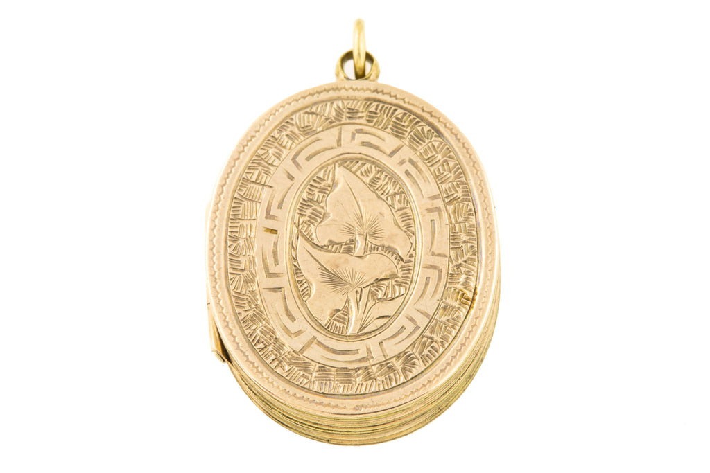 Victorian Gold Oval Engraved Locket