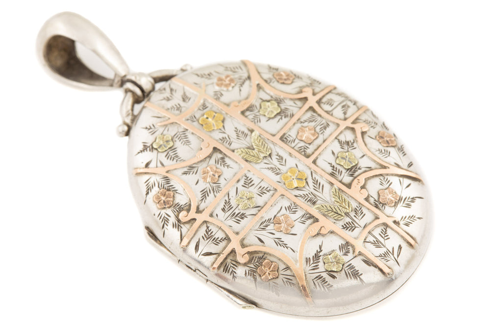 Victorian Aesthetic Silver Locket with Rose, Yellow and Green Gold Details