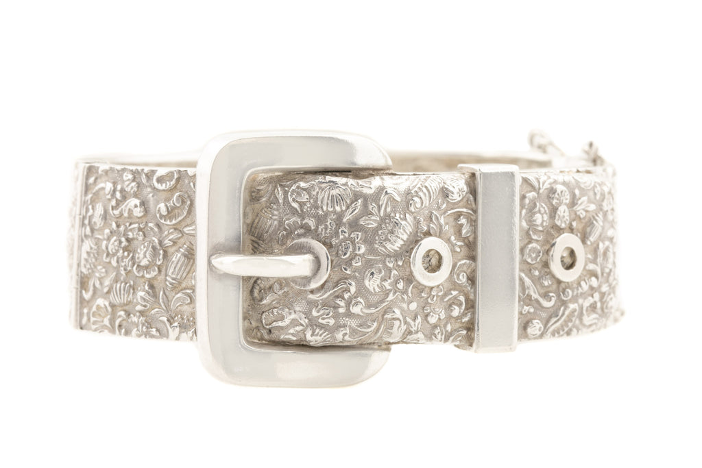 Victorian Repoussé Silver Buckle Bangle