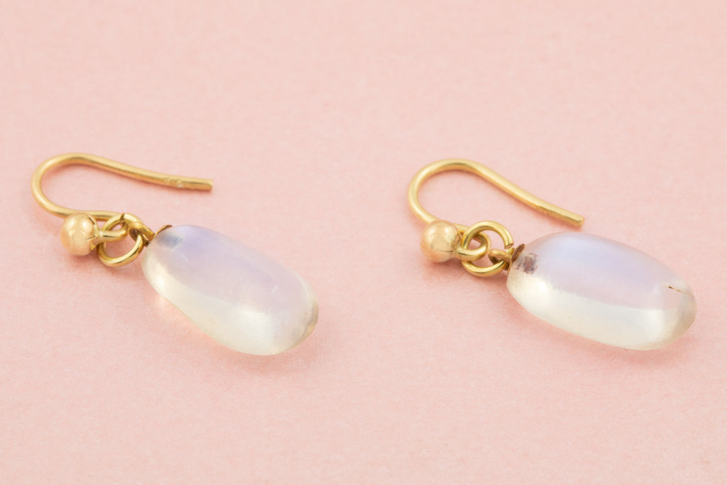 Antique Moonstone Gold Drop Earrings, (7.3ct)
