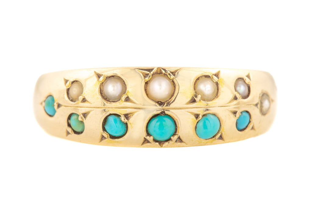 Antique 15ct Gold Turquoise Pearl Stacking Ring c.1879