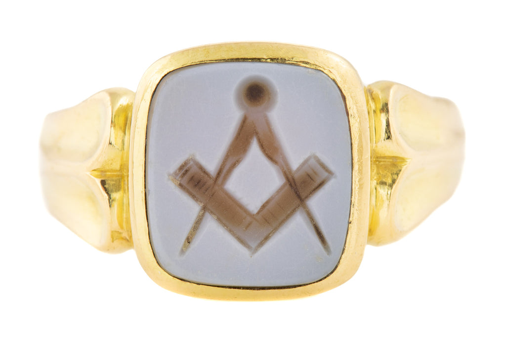 Antique 18ct Gold Masonic Signet Ring c.1899