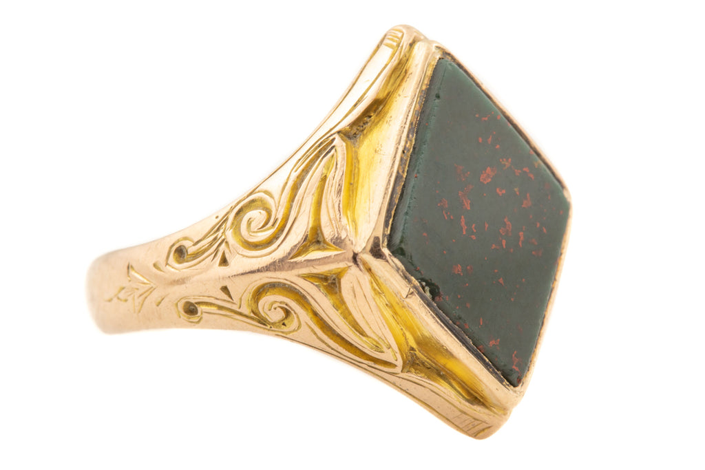 Antique 15ct Gold Bloodstone Signet Ring, c.1868