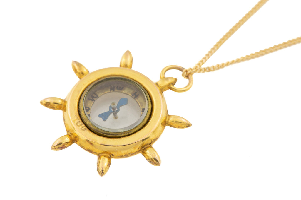 "Antique Gold Ships Wheel Compass Pendant, with 16"" Chain"