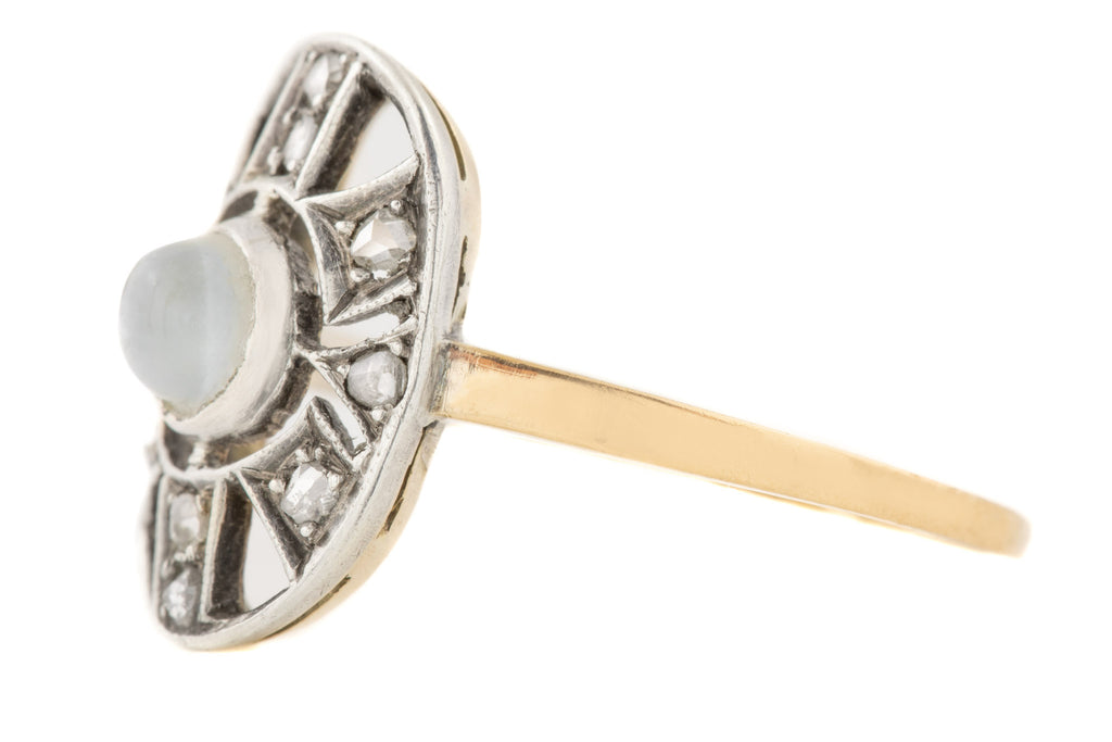 Antique 15ct Gold Moonstone Diamond Ring (0.29ct)