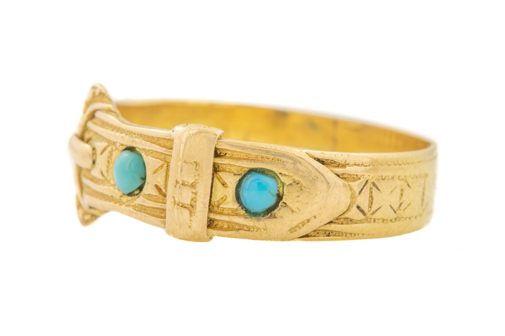 Antique 18ct Gold Turquoise Buckle Ring