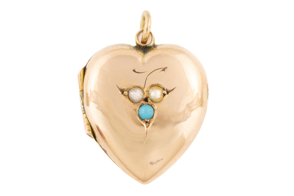 Edwardian Gold Turquoise Pearl Heart Locket, c.1903