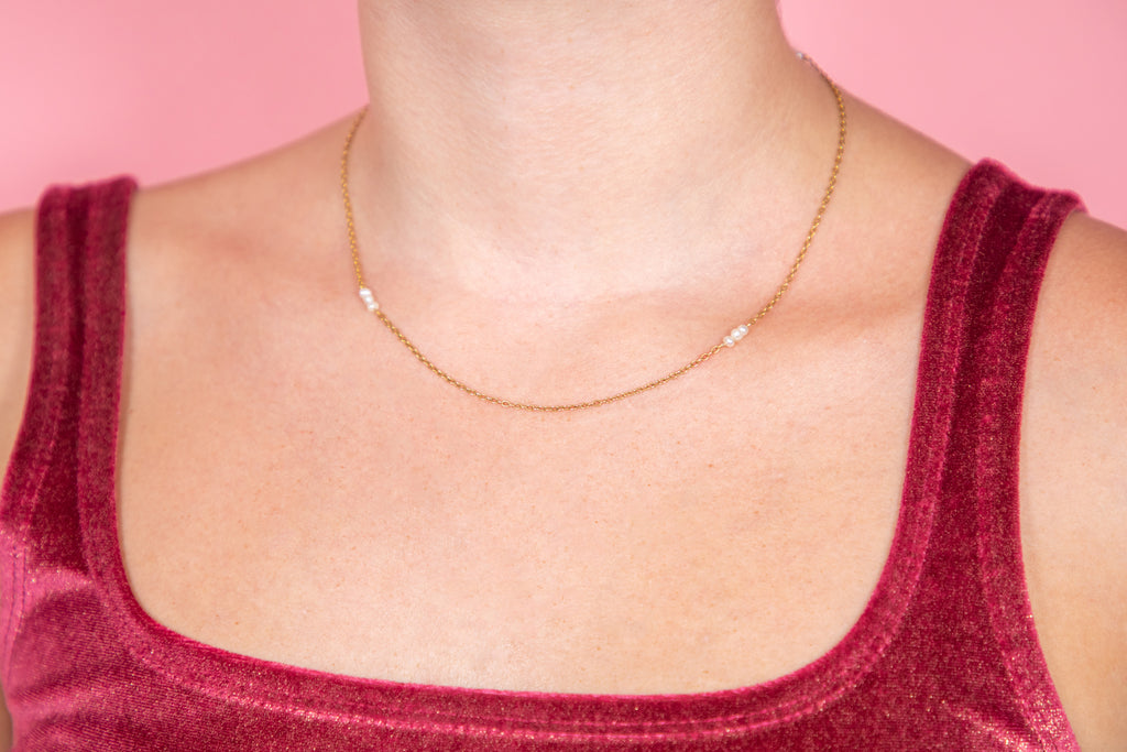 Antique 15ct Gold Natural Pearl Chain, 17""
