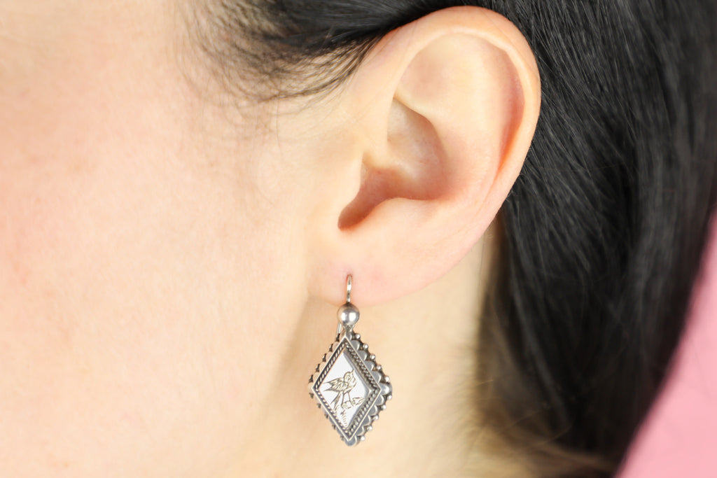 Victorian Aesthetic Silver Bird Earrings