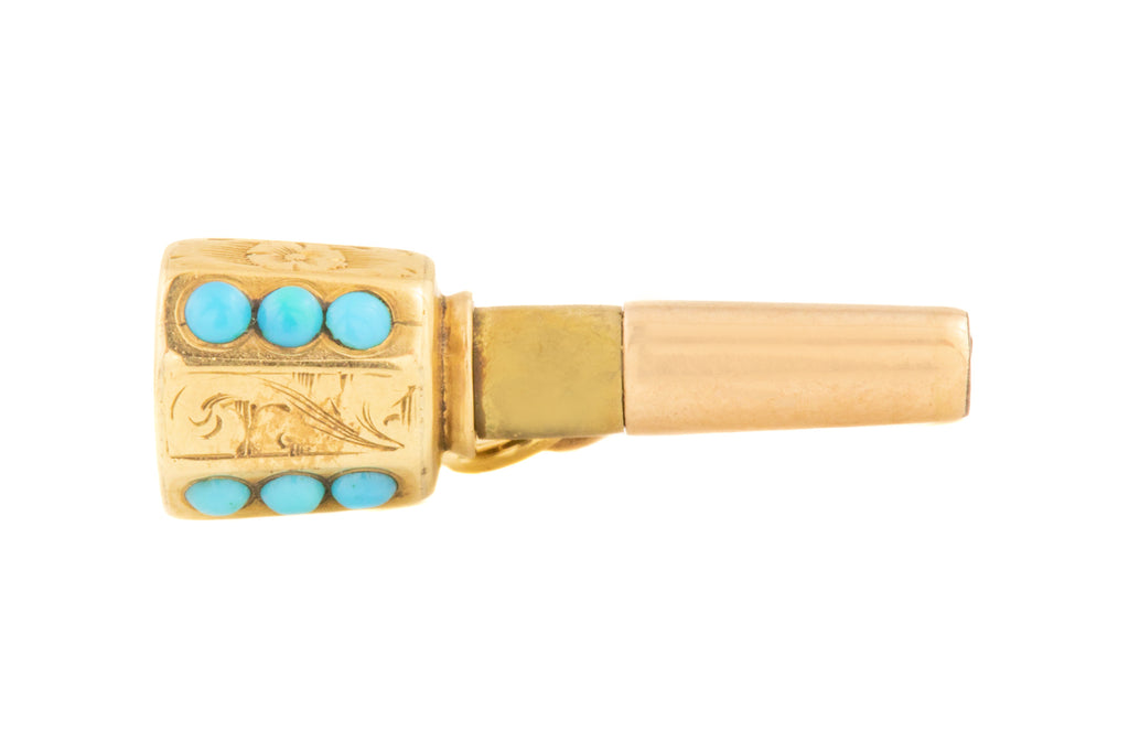 Early Victorian Gold Turquoise Charm