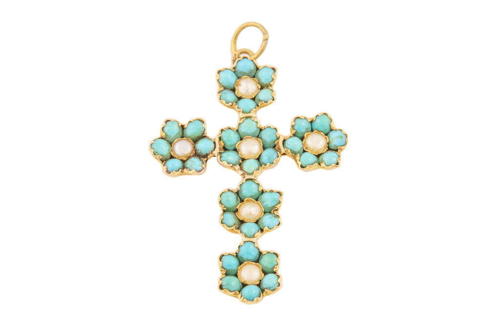 Antique French 18ct Gold Turquoise Pearl Cross Pendant