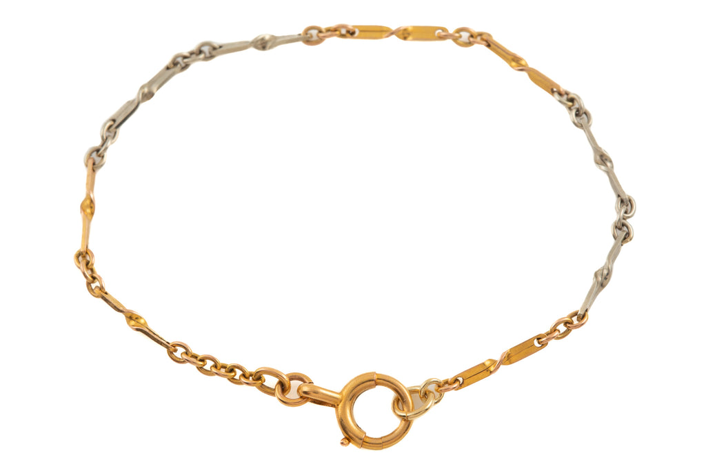 "Art Deco Gold Two-Tone Twisted Bracelet, 6 & 3/4"" (2.5g)"