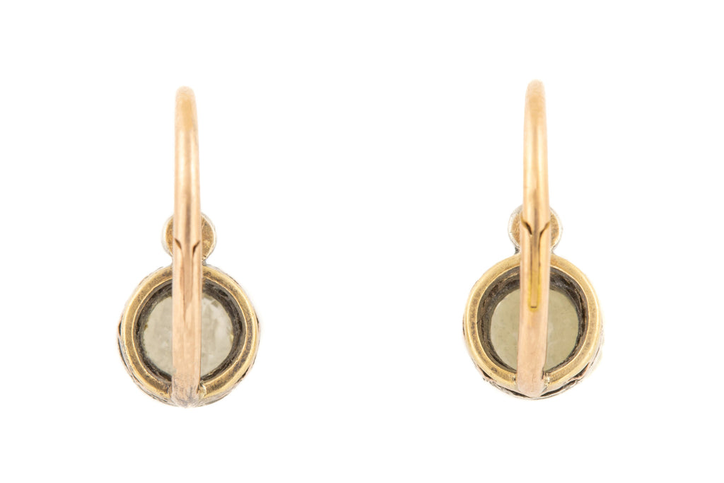 Antique French 18ct Gold Paste Dormeuse Earrings