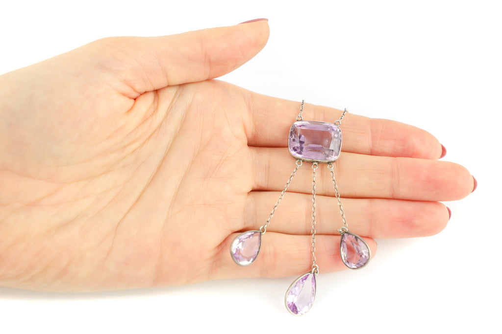 Arts and Crafts Silver Amethyst Necklace (25.94ct), 19 & 1/2""