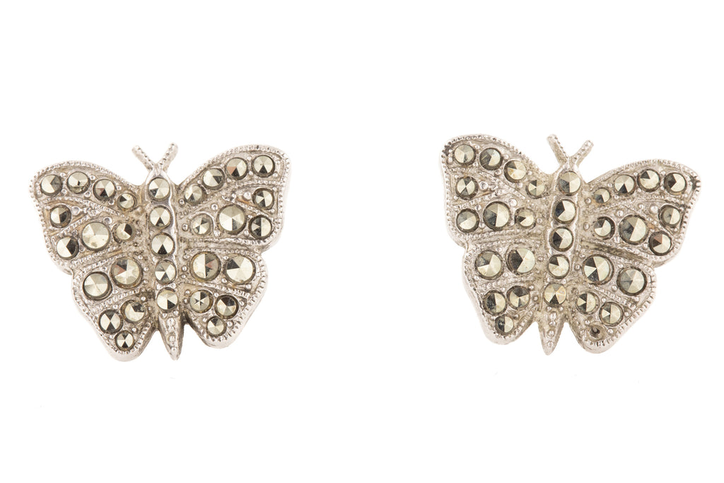 Art Deco Silver Marcasite Butterfly Earrings