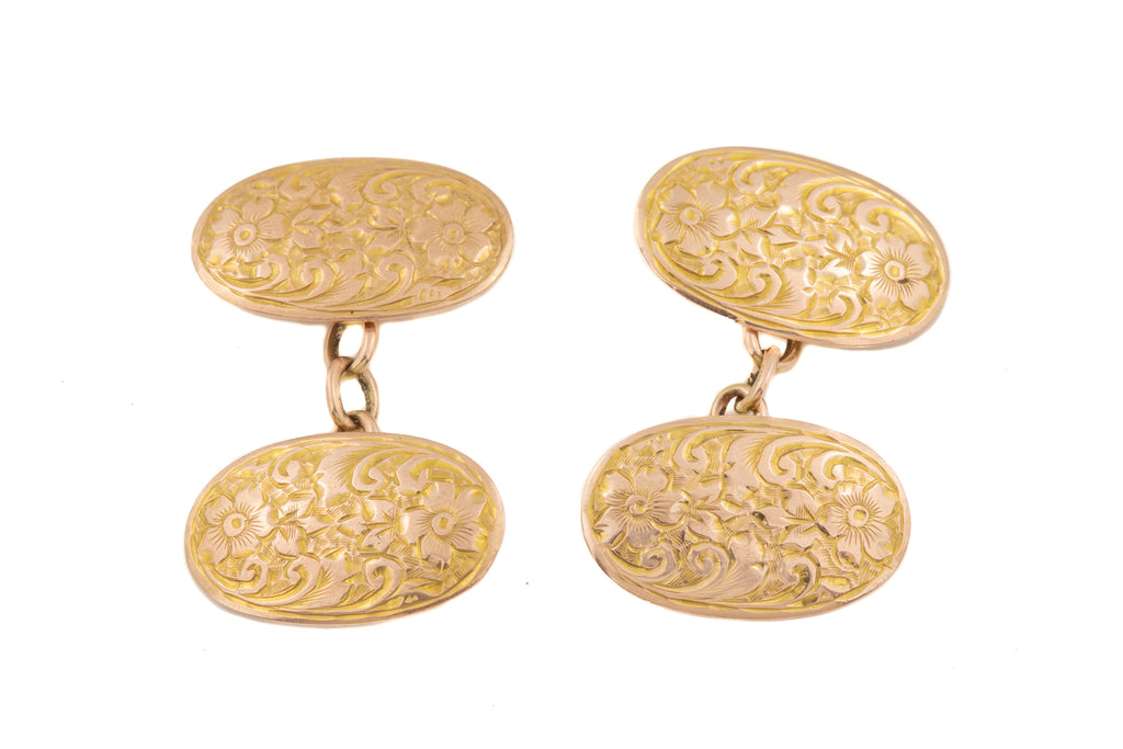 Antique Gold Chased Cufflinks with Forget-Me-Not Details, c.1919