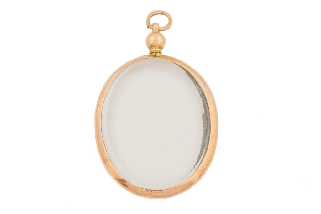 Edwardian Gold Oval Glass Locket, c.1914