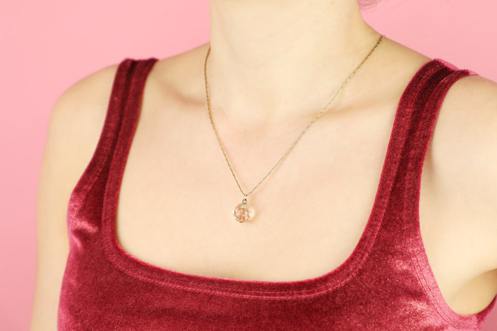 Antique Faceted Rock Crystal Pendant with Gold Paperclip Chain, 19 & 1/2""
