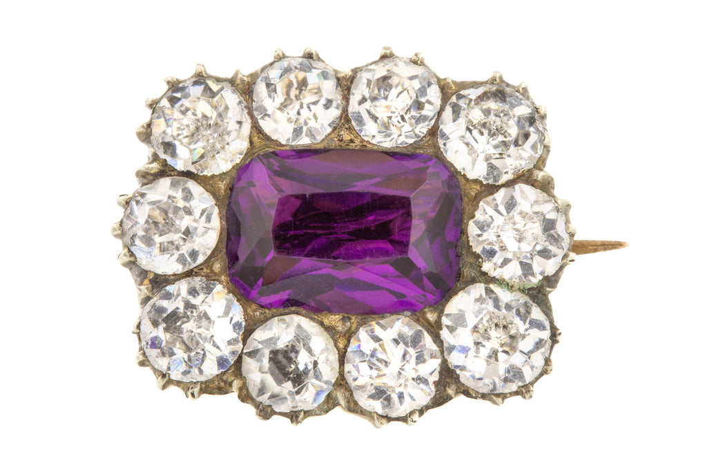 Antique Amethyst Diamond Paste Brooch