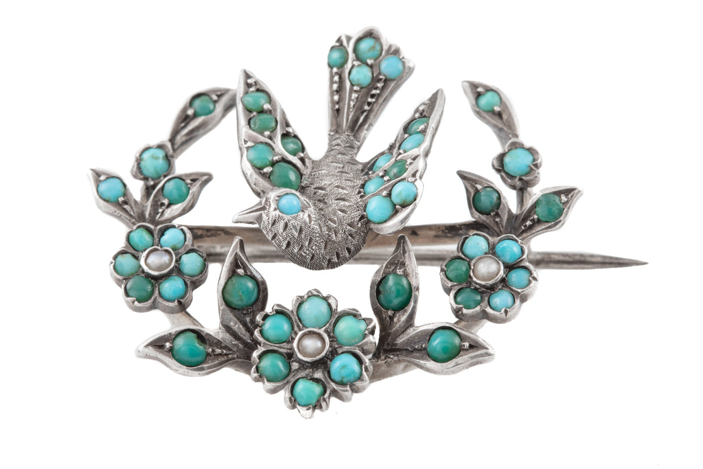 Victorian Silver Turquoise Pearl Bird Garland Brooch