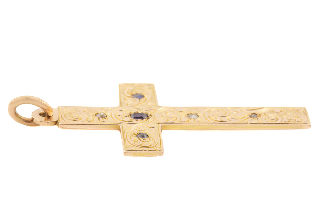 Antique Gold Sapphire Diamond Cross Pendant