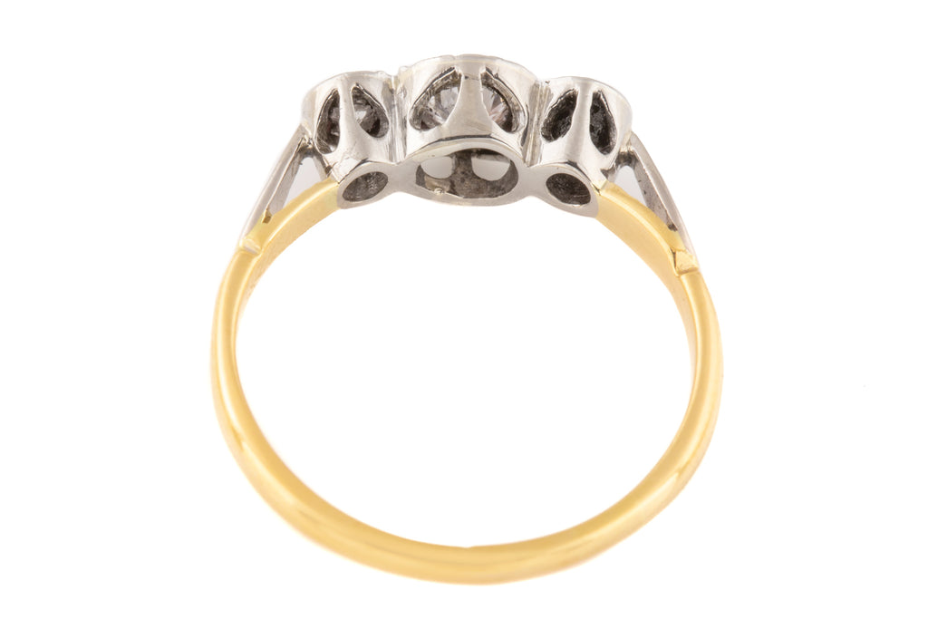 "Art Deco 18ct Gold Platinum ""Star"" Diamond Trilogy Ring (0.18ct)"