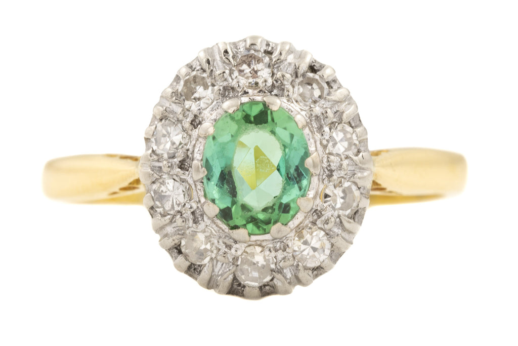 18ct Gold Tourmaline Diamond Engagement Ring