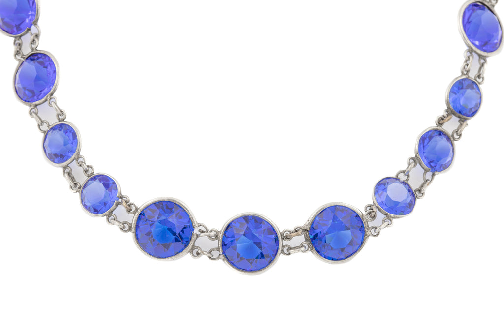 "Art Deco Blue Paste Necklace, 32"" (50.2g)"