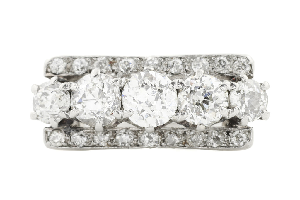 Art Deco Platinum Five Stone Diamond Dress Ring, (1.63ct)